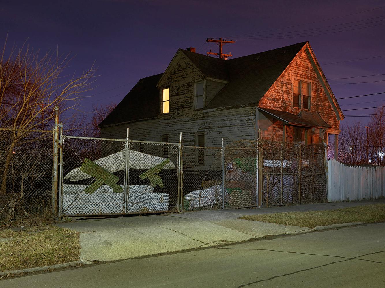 House with Light On, Poletown, Estside, Detroit 2016
