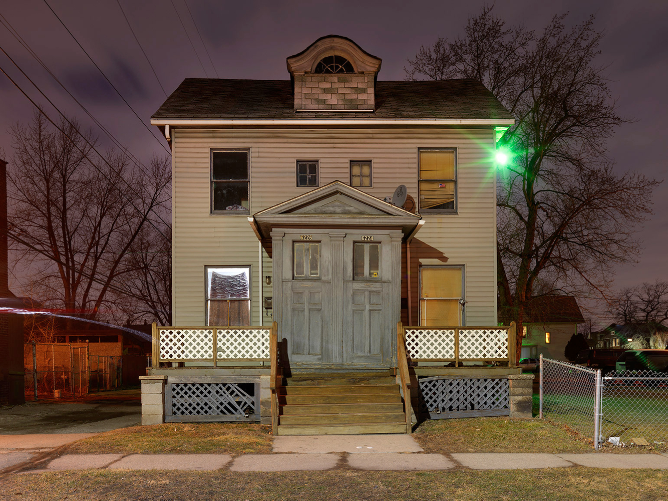 House with Classical Portico Entrance, Mexicantown, Detroit 2016