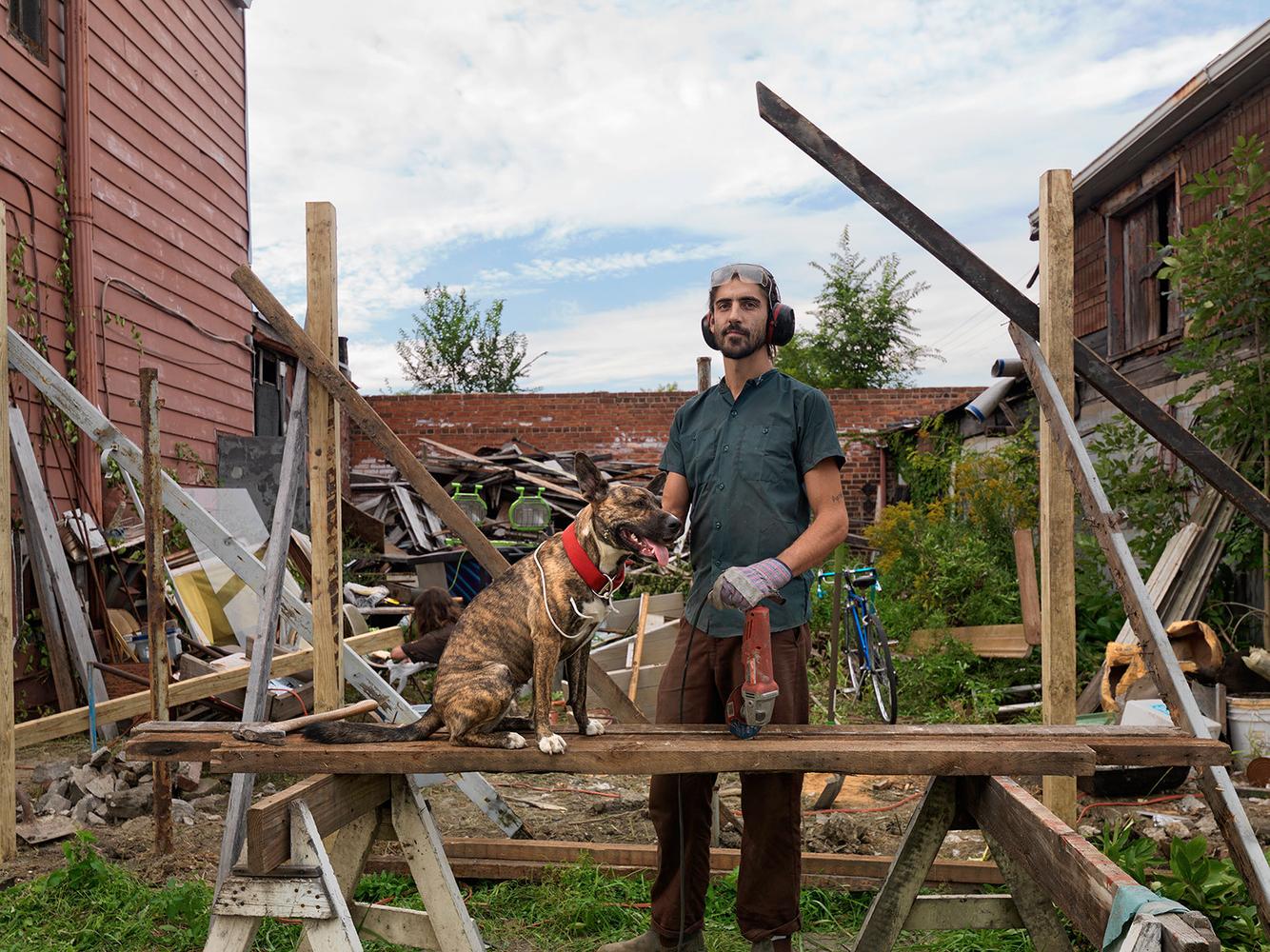 Ben Working on His New Building, Chene Street, Poletown, Detroit 2014