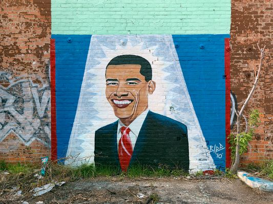 Obama portrait painted by Bird, Gratiot Avenue, Detroit 2011