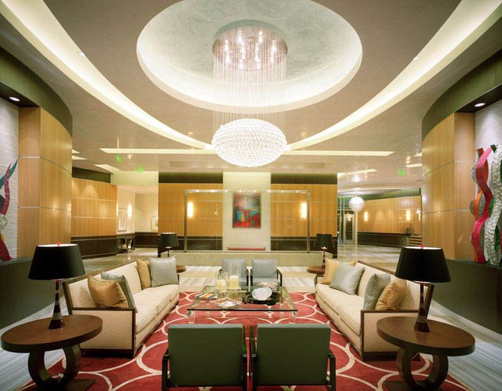 Lobby with waterfall wall, Turnberry Tower