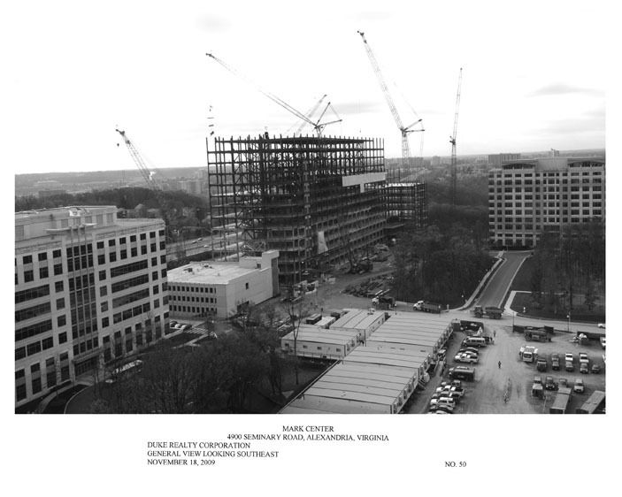 Construction progress print (black & white) with caption - Mark Center