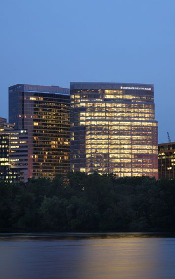 Waterview of Rosslyn, evening, from across the Potomac River