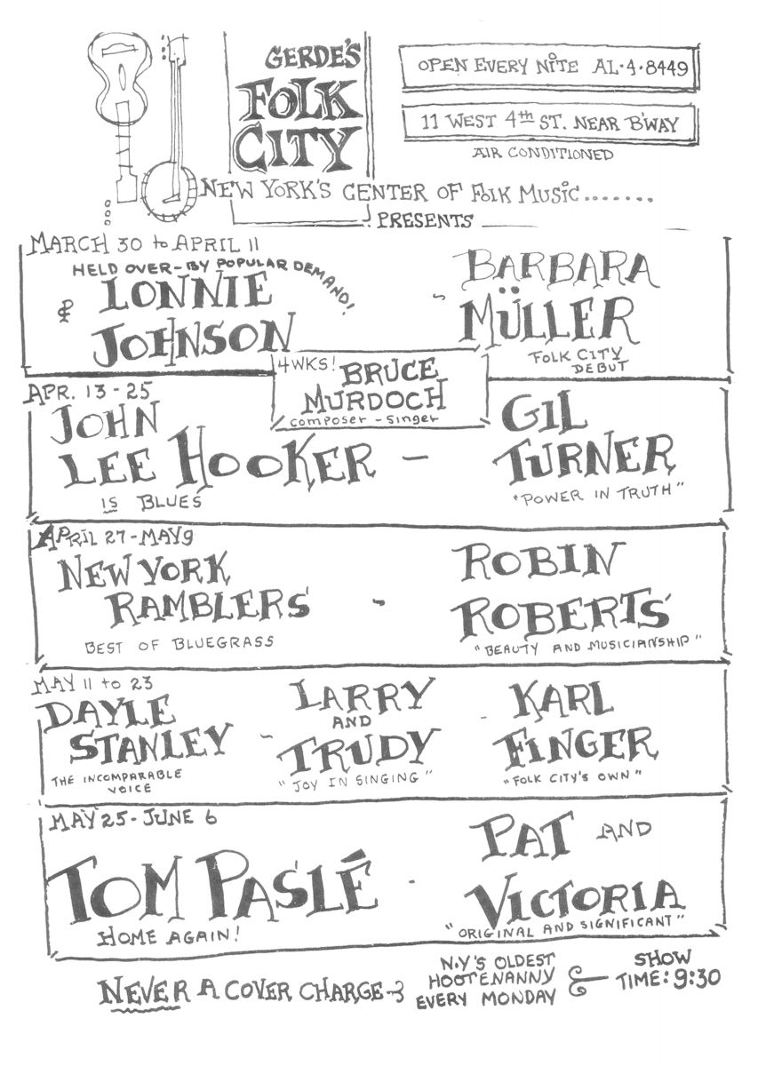 Gerde's Folk City program for 1965