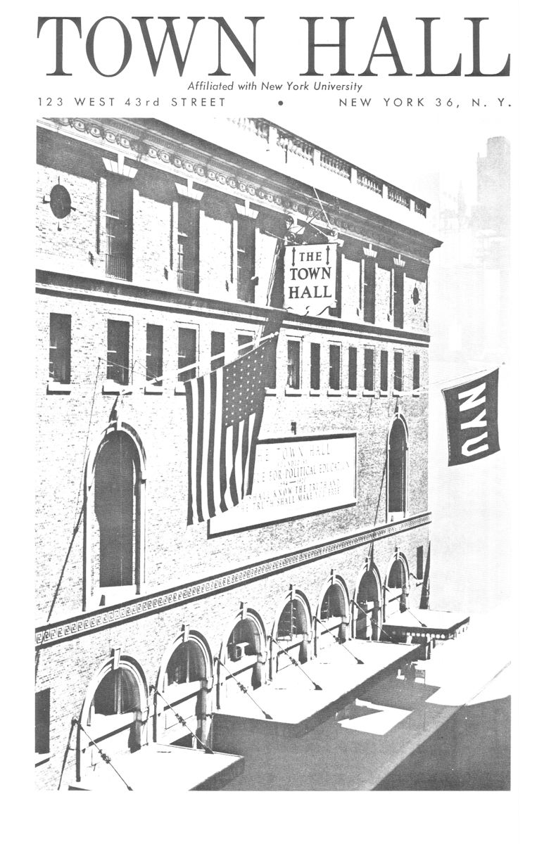 Town Hall Program Cover for May 8, 1965