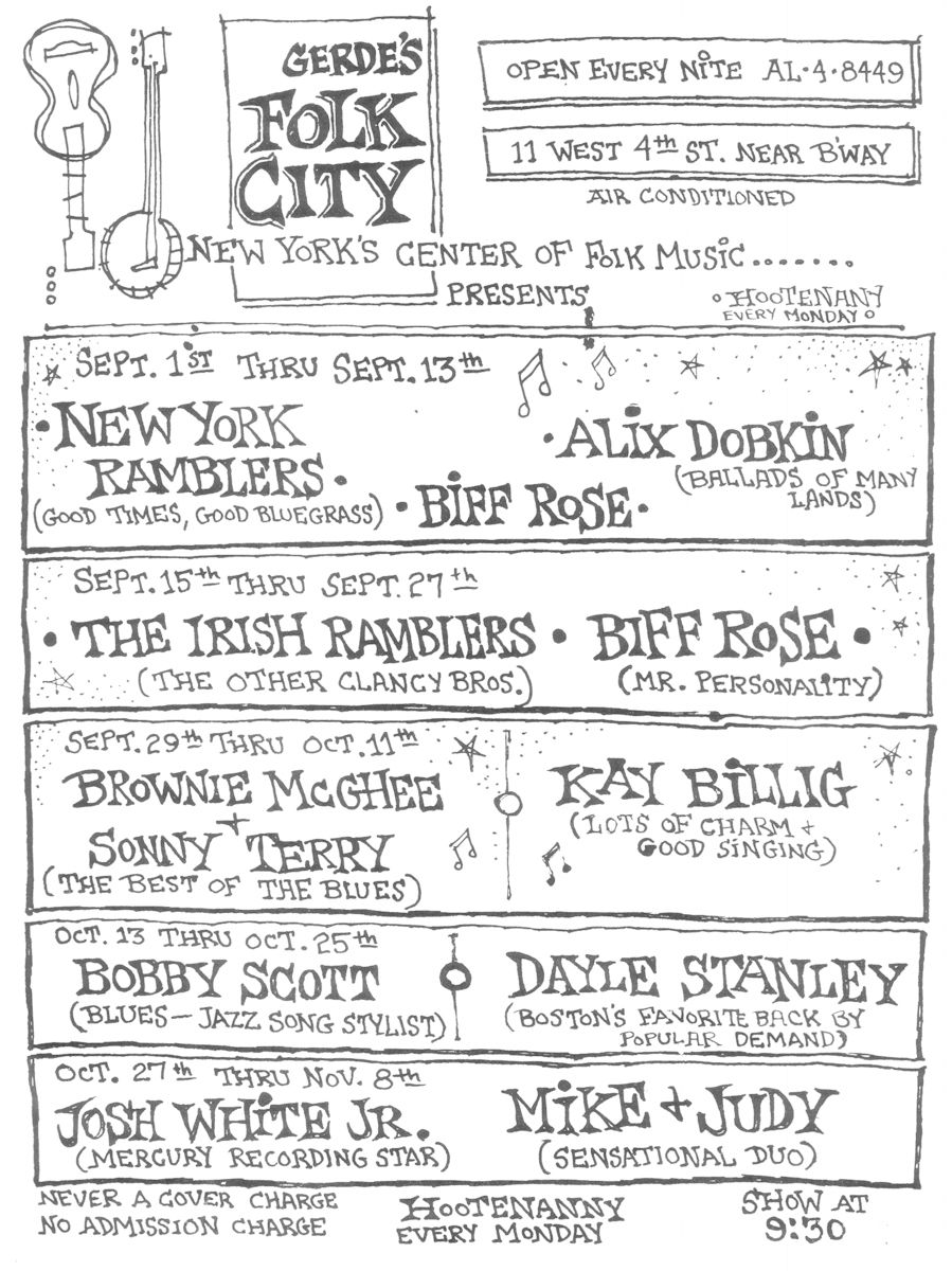 Gerde's Folk City Program, 1964