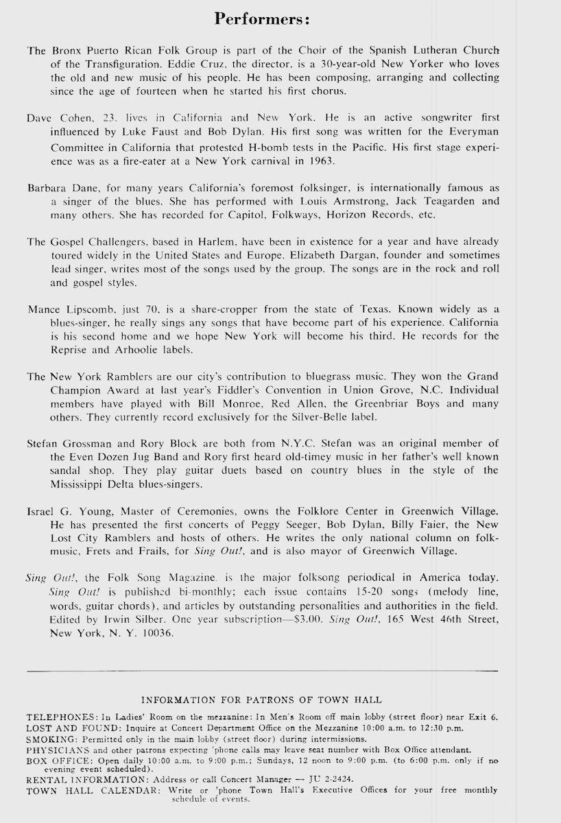 Town Hall Program, 1965