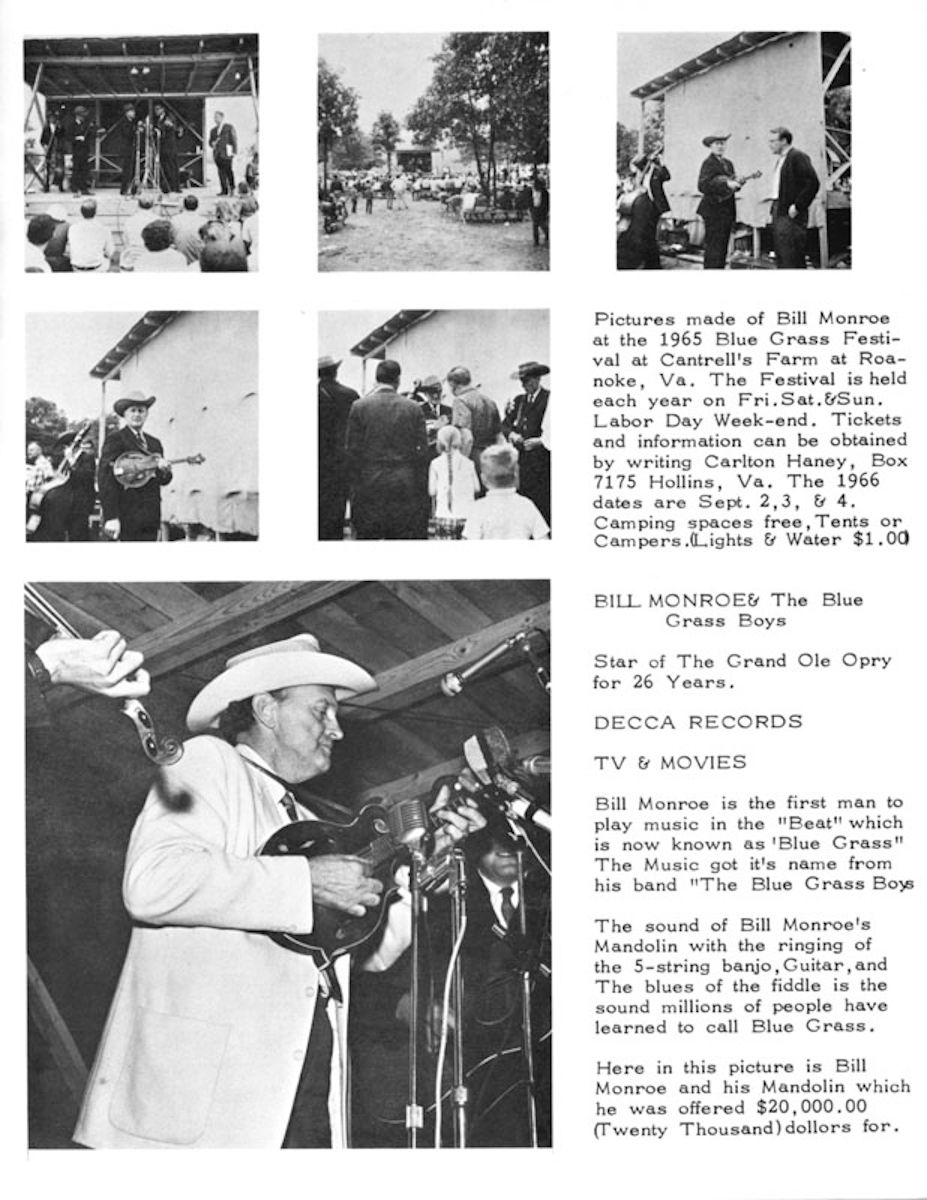 Bill Monroe Program for Union Grove, NC Nov. 27, 1965