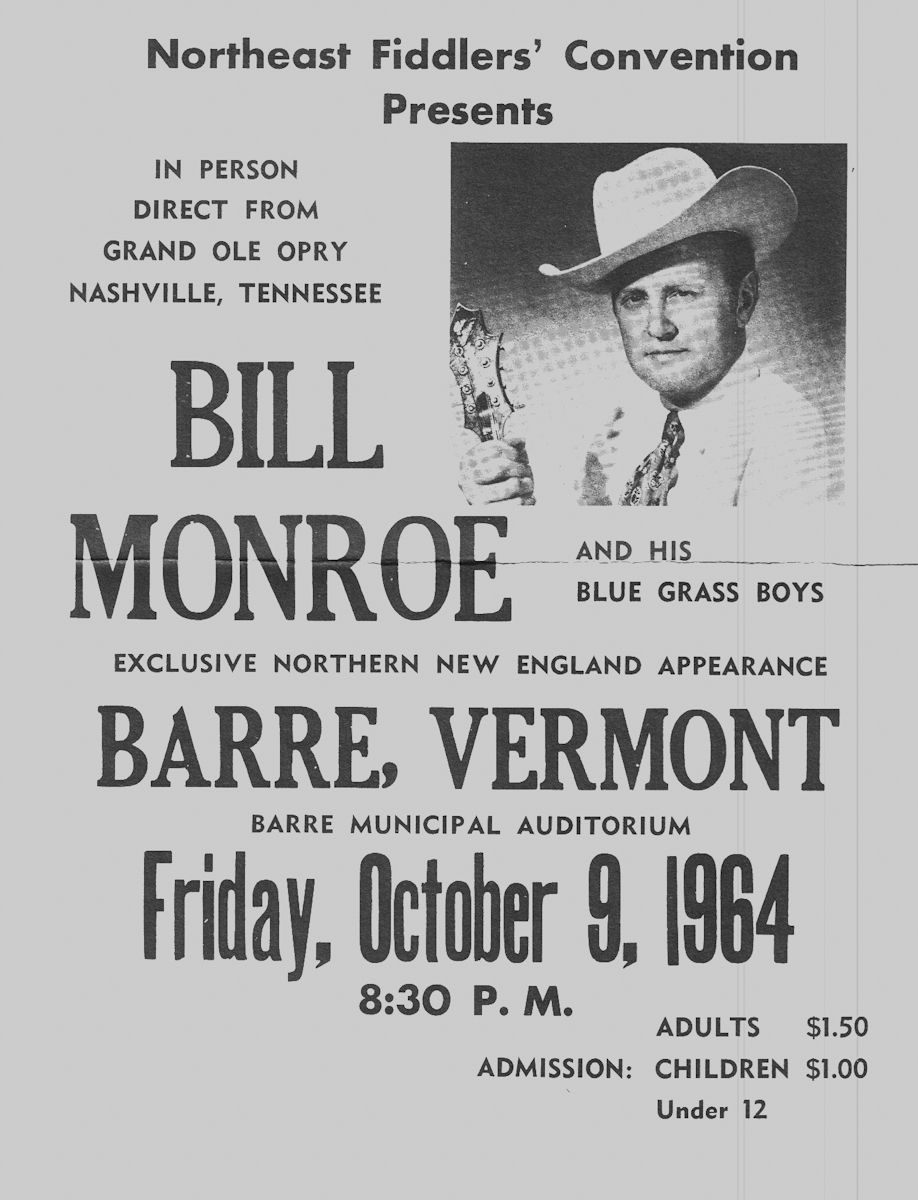 Bill Monroe poster for the Oct 9, 1964 show