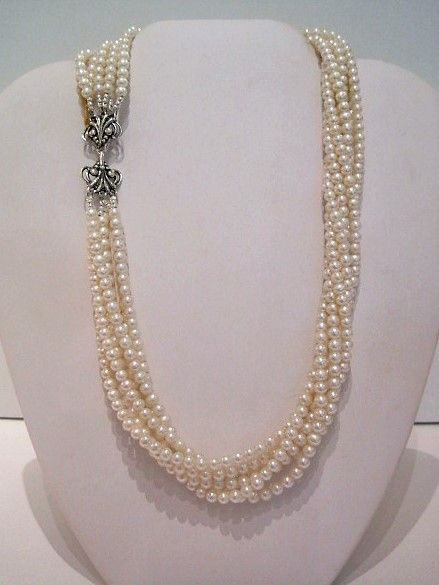 6 Strand 4mm PEARL necklace with Sterling Filigree Clasp.JPG