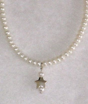Star Pearl Drop with White Button Pearls-14.5""