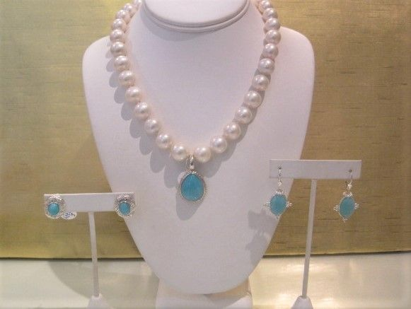 Our Semi Round pearls with magnetic Clasp $335, Amazonite & Sterling Silver Enhancer $468, Amazonite & Sterling Silver Earrings $564-$804.JPG