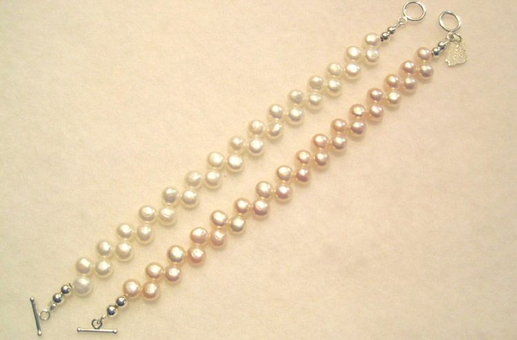 "Dancing Pearl Bracelets-6.5""-White or Pink"