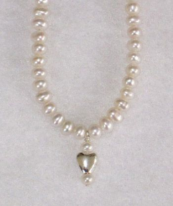 Heart Pearl Drop White Button Pearls-14.5""