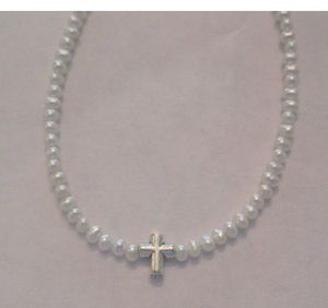 "Mini Cross on Tiny Round Pearls-Christening to Confirmation!Bracelets-4.5"", 5"", 5.5"", 6""Necklaces-14"", 15"", 16"""