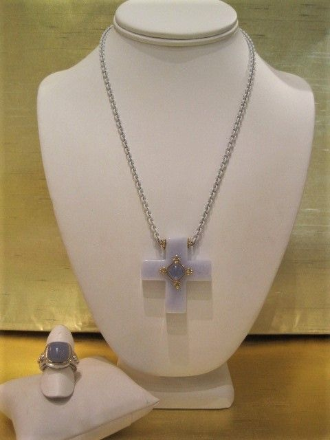 Diane Mazza Blue lace Agate Cross with Chalcedony & 18K on White Powder Coated Steel Necklace $2400, Chalcedony, SS & 18K Ring $900.JPG