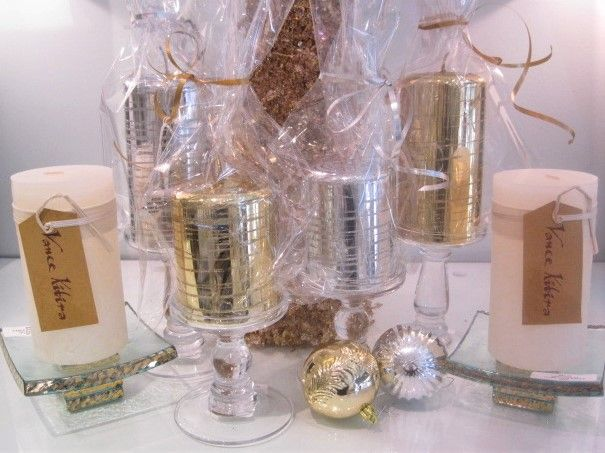 Crystal Pillar Candle Holders, Tall $100, Med. $85 Silver or Gold Glitter Candles, $25-30, Trufflr Stands $82, VK Candle $14.JPG