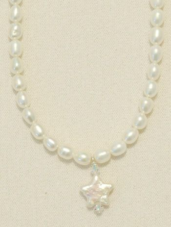 Star Shaped Pearl with Crystal accent on White Rice Pearls-16""