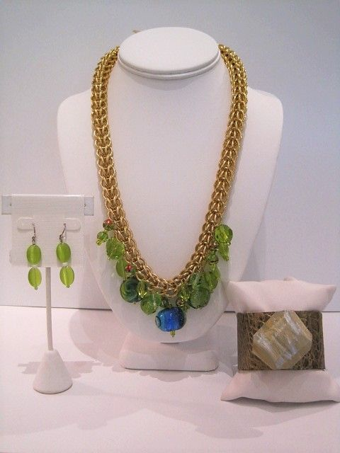 GP Chain with Lime Glass $325, Lime Glass Earrings $40, Bronze with SilverGold Cuff $100.JPG