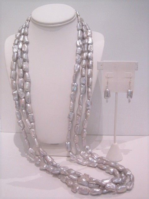 37 in.Triple Long Silver Rectangles Necklace $785 Silver Log and CAB Cube Earrings $38.JPG