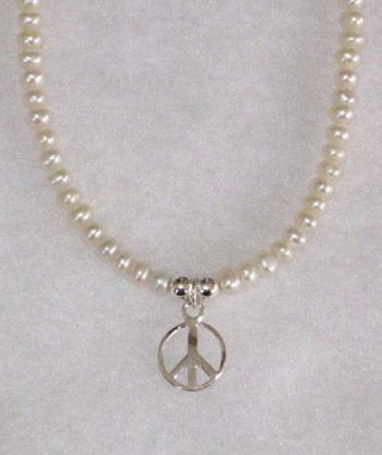 Peace Sign White Button Pearls-16""