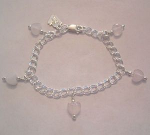 Rose Quartz Heart Charm Bracelet-6""