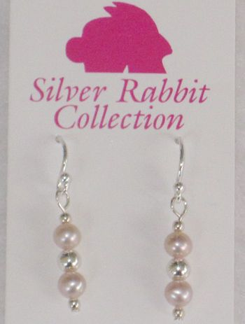 Pink Round Pearl   SS Bead Earrings