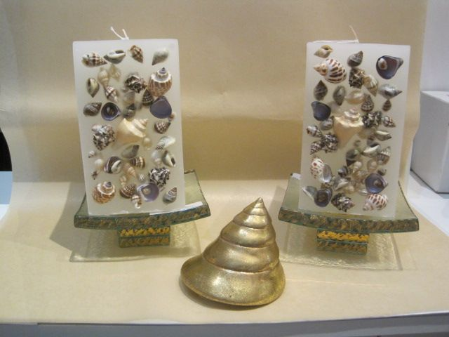 Annieglass Truffle Stand, Shell Candle, Gold Shells