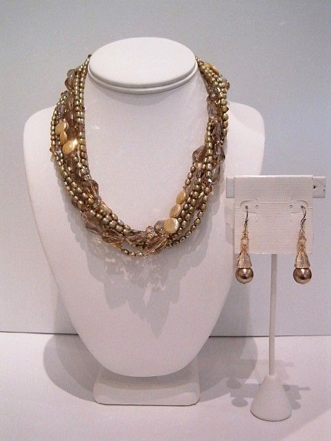 Gold Pearl and Crystal Necklace $545 Bronze pearl and Golden Chaldon Earrings $80.JPG