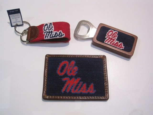Ole Miss Needlepoint Bottle Opener $28.50, Card Wallet $55, Key Fob $28.50.JPG