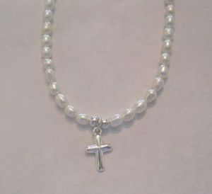 Domed Cross on White Rice Pearls-16""