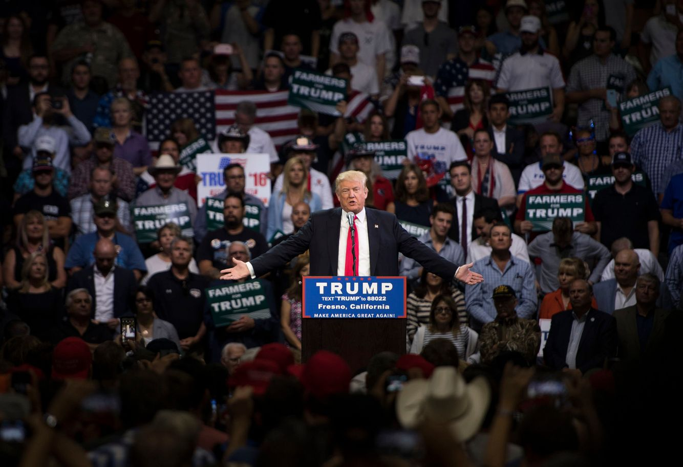 Donald Trump speaks during a campaign event.