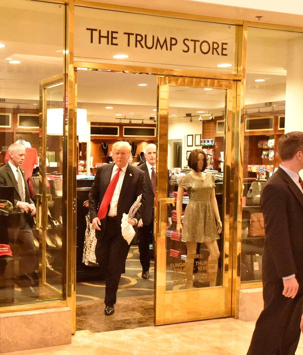 President Elect Donald Trump departs the Trump Store inside the Trump Hotel in Las Vegas, NV.