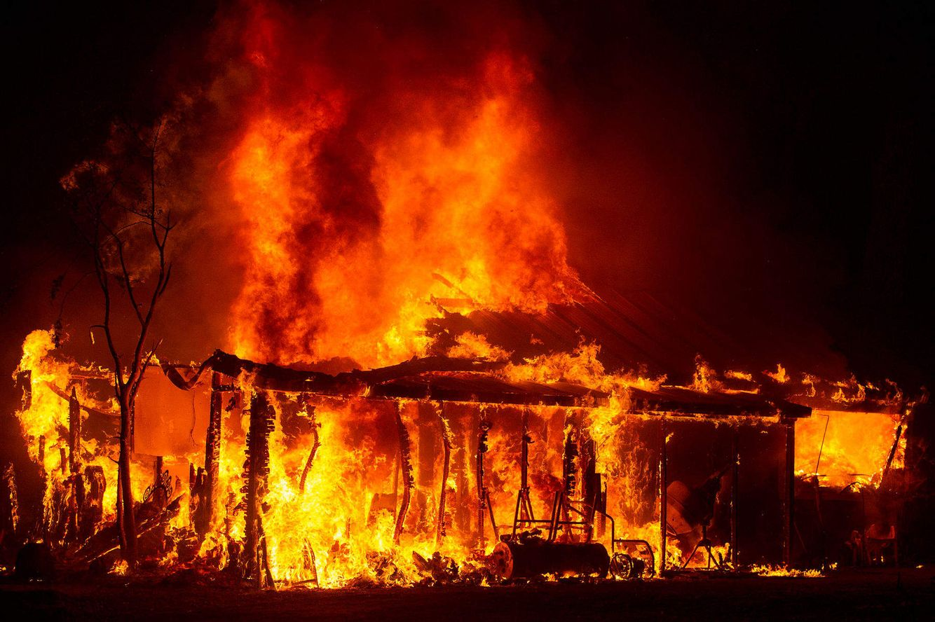 Ahome burns during the Valley fire.