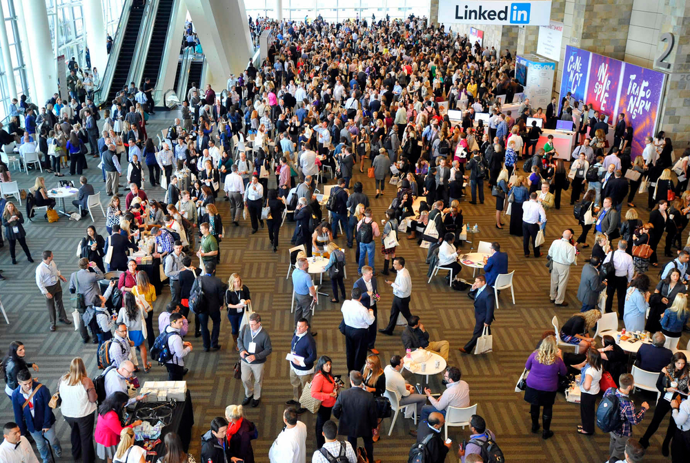 LINKEDIN: Crowds gather during an annual summit for LinkedIn