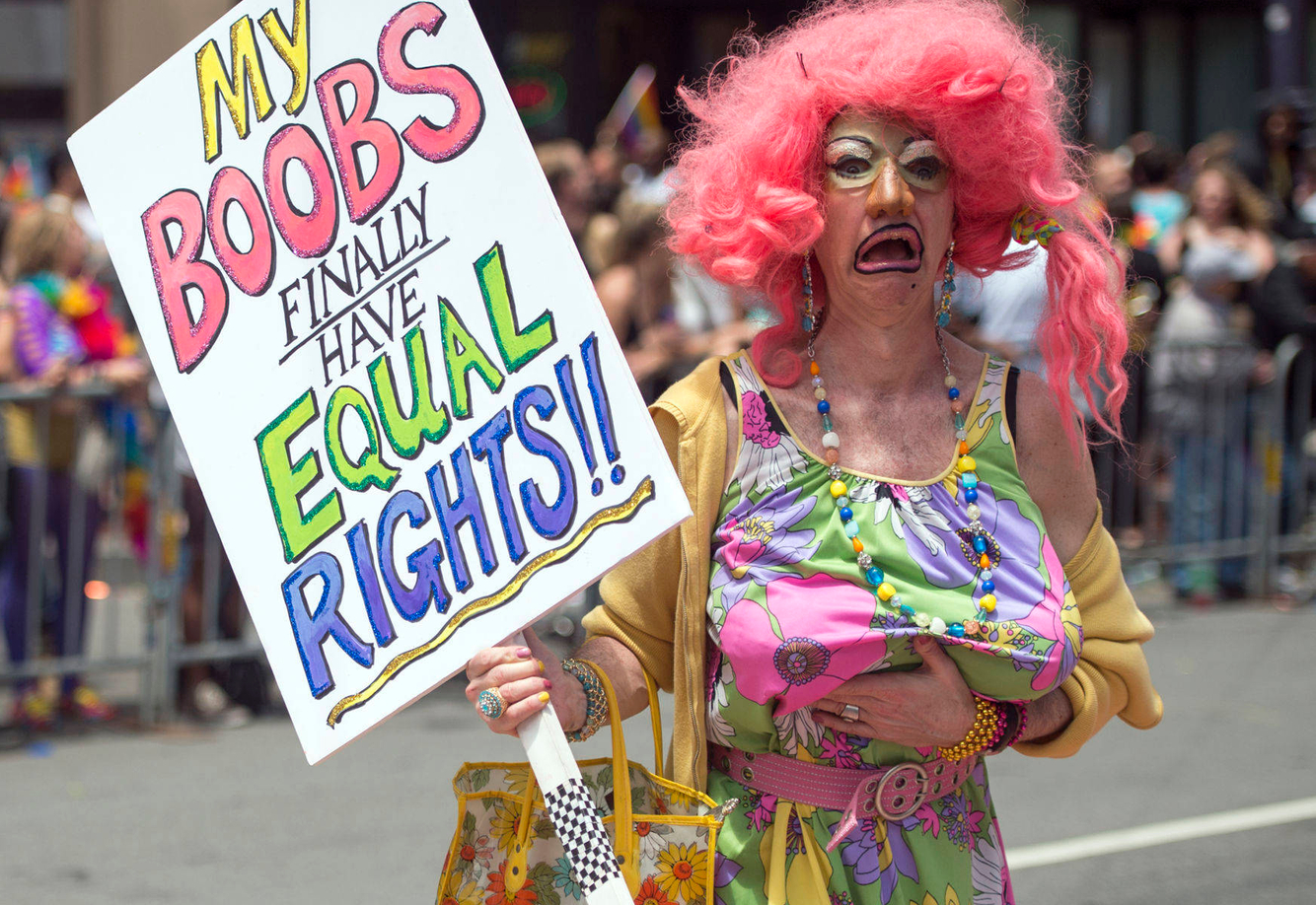GAY RIGHTS: A man marches in a gay pride parade