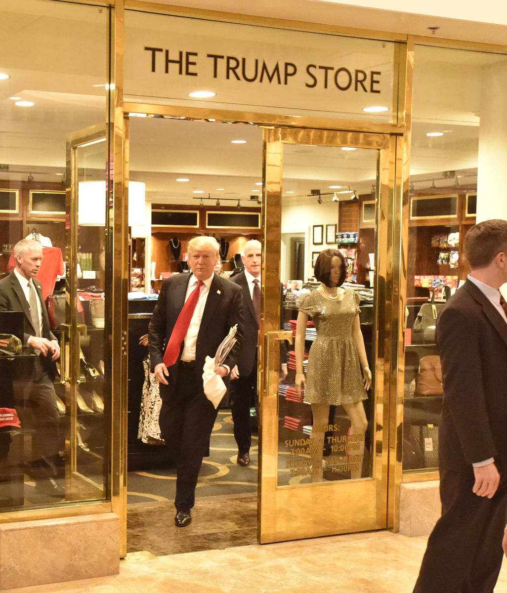 President Elect Donald Trump departs the Trump Store inside the Trump Hotel in Las Vegas, NV.
