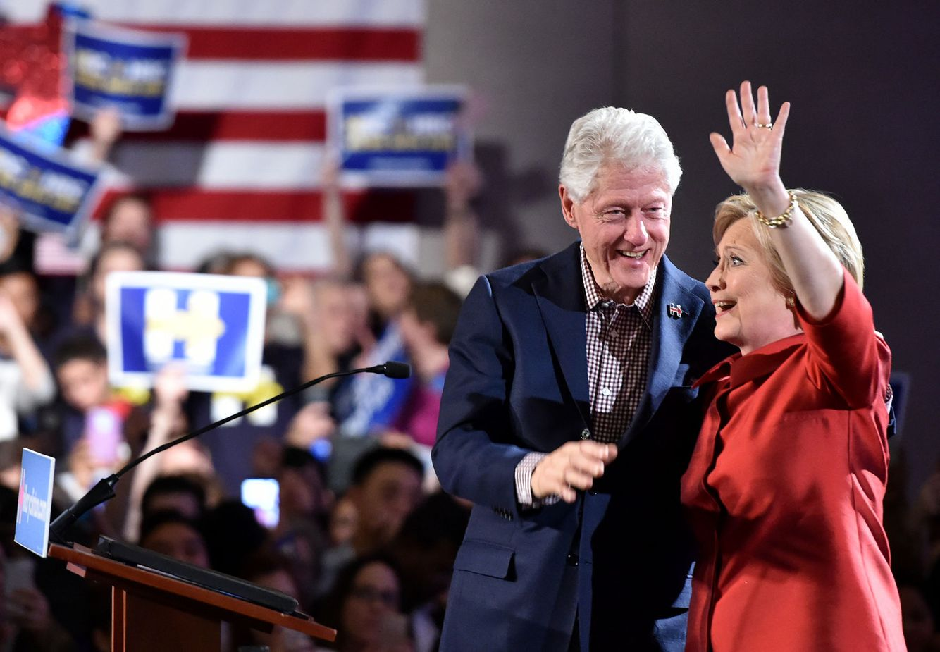 Hillary and Bill Clinton arrive for a campaign event in Las Vegas.