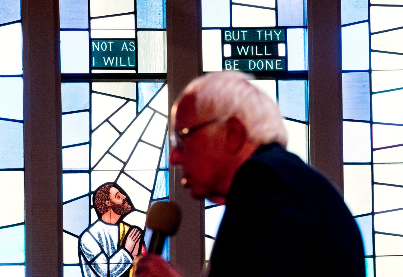 Bernie Sanders speaks at a church during a campaign event in Oakland, California.