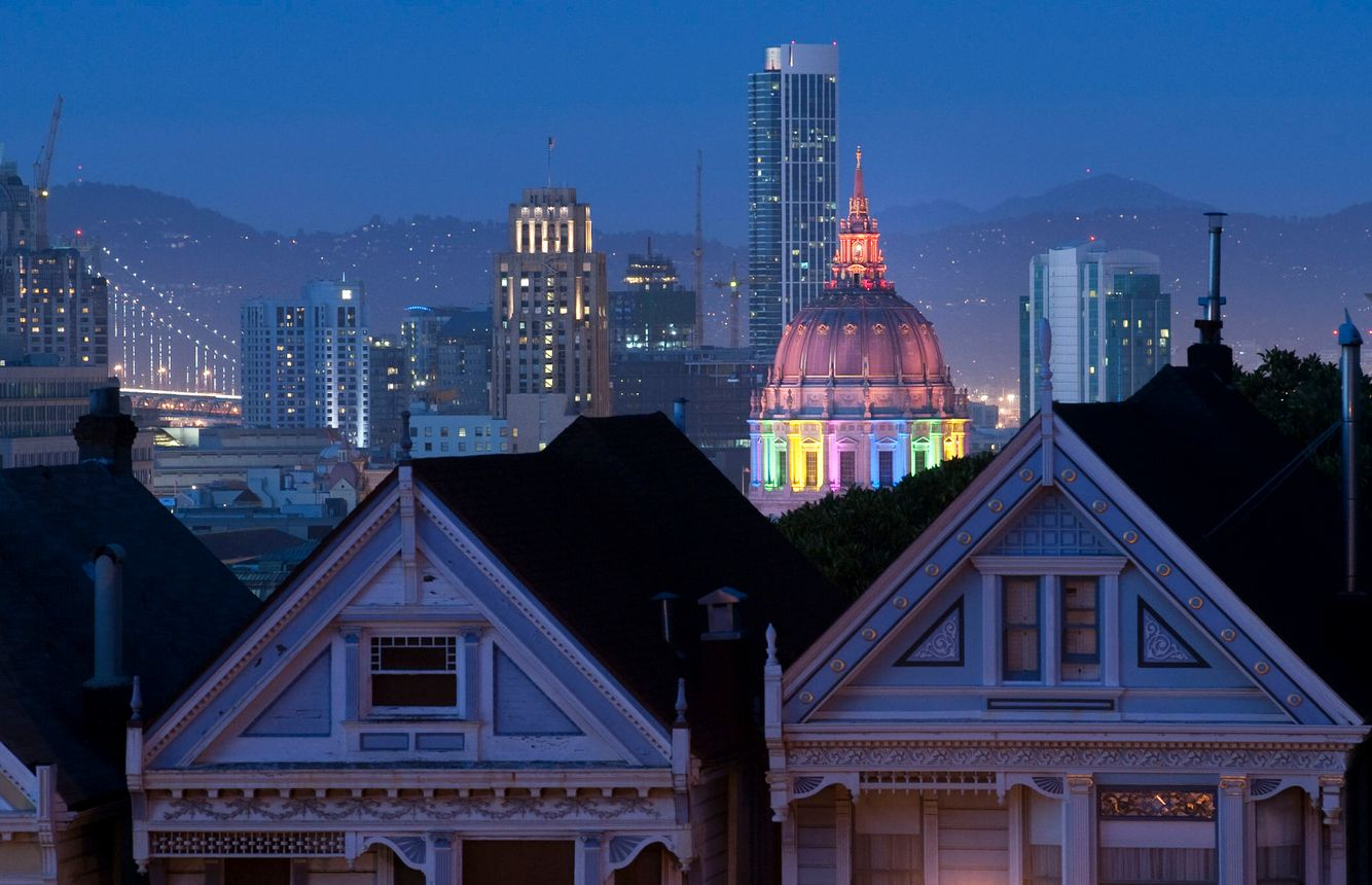 San Francisco's Civic Center is lit up in rainbow lights in honor of Gay Pride.