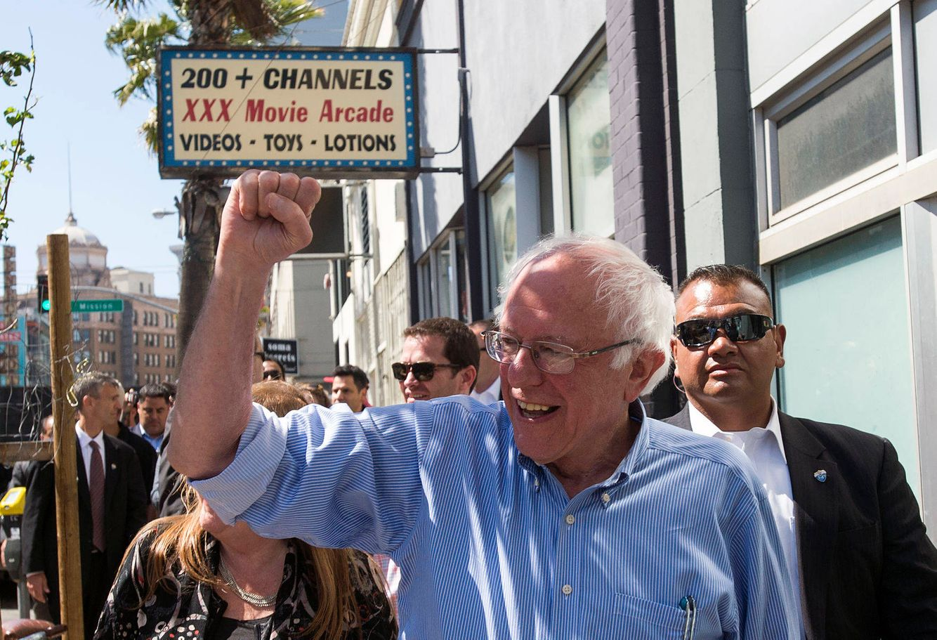 Democratic presidential candidate Bernie Sanders in San Francisco