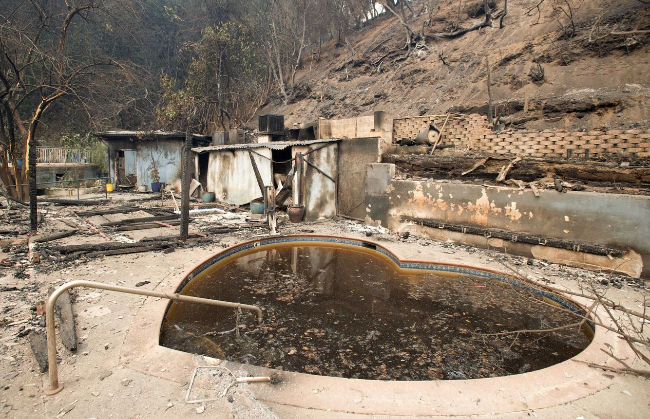 Burned out remains of the popular clothing-optional destination Harbin Hot Springs after the Valley fire tore through the area.