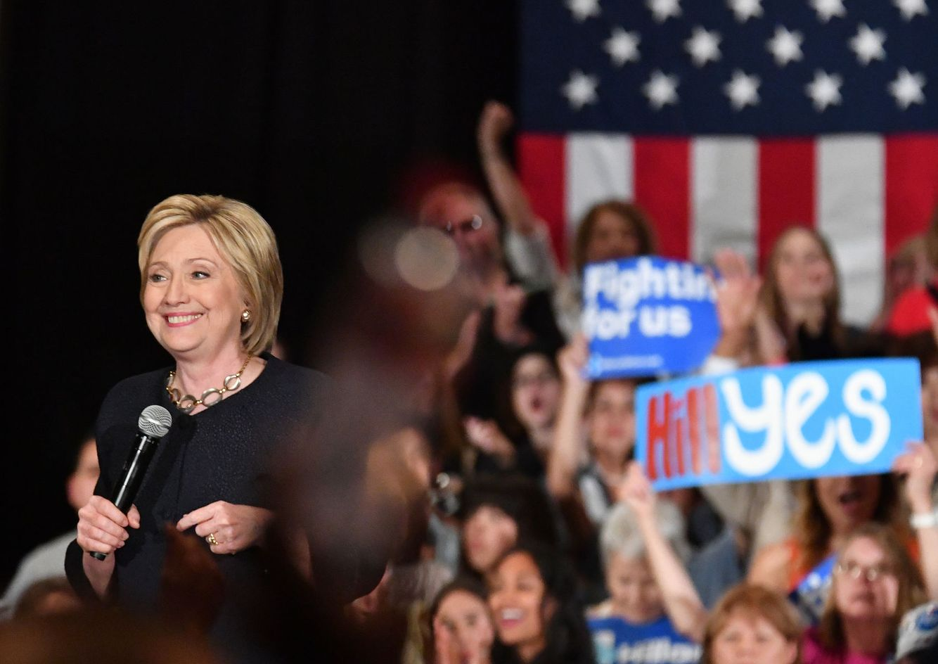 Hillary Clinton speaks during a campaign event.