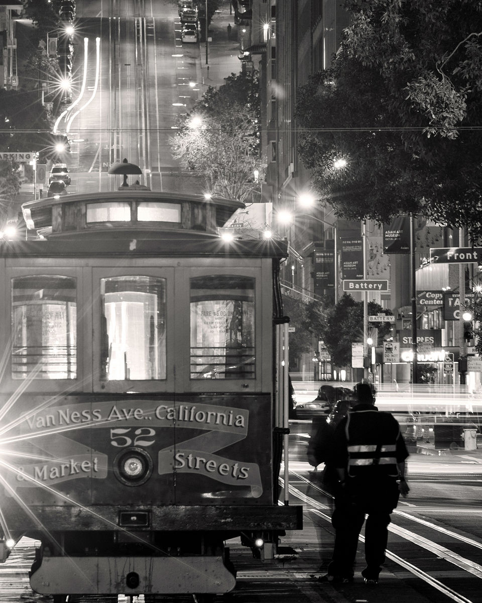 A cable car waits at the end of the California Street line in downtown San Francisco.