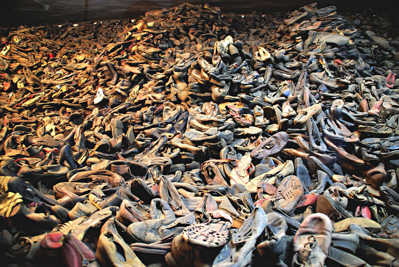 Approximately 25,000 shoes (1 day worth of gassings) are seen  on display inside Auschwitz Concentration Camp in Poland.