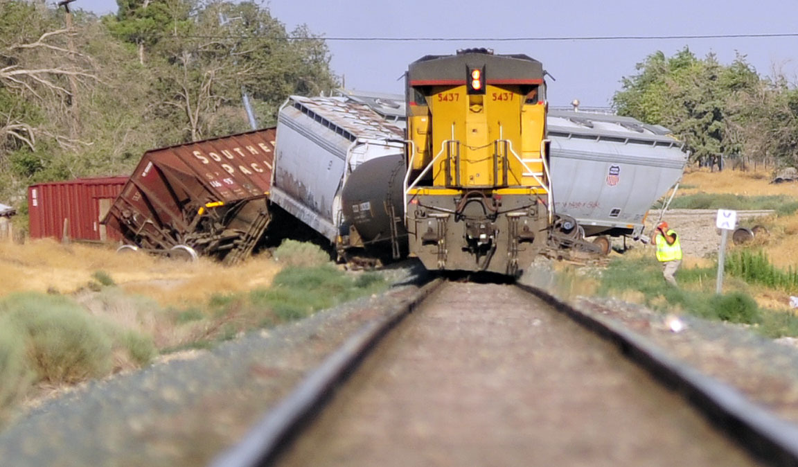 TRAIN CRASH: A freight train carrying toxic chemicals derails in Littlerock, California
