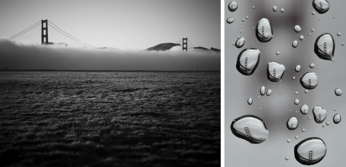 The Golden Gate Bridge is seen with an inverted marine layer (left) and through refracting raindrops (right).