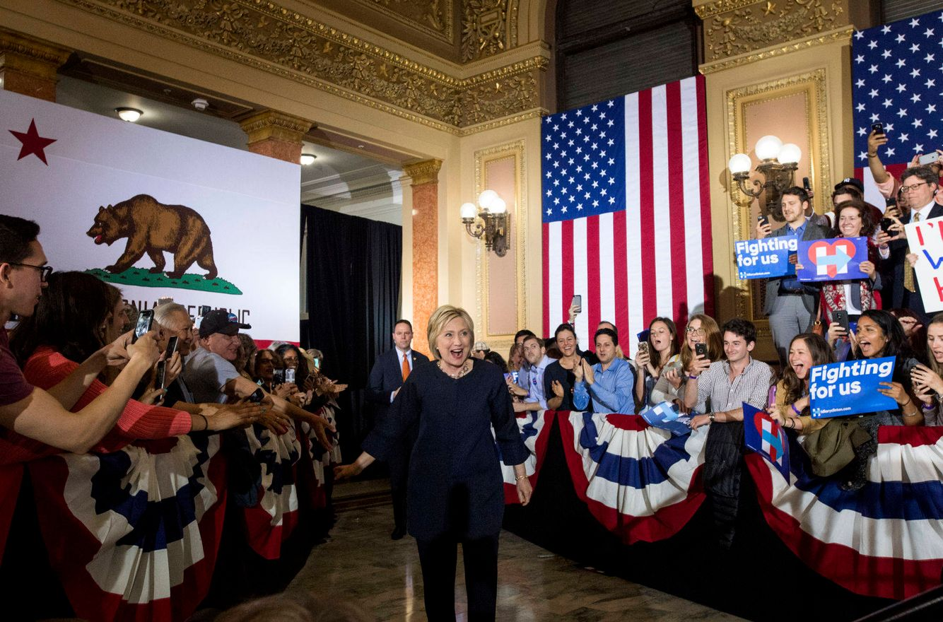 Hillary Clinton arrives for a campaign event in Las Vegas.
