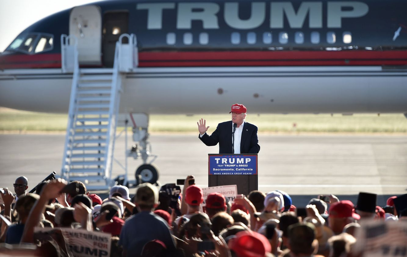 President Elect Donald Trump speaks during a campaign event in Sacramento.