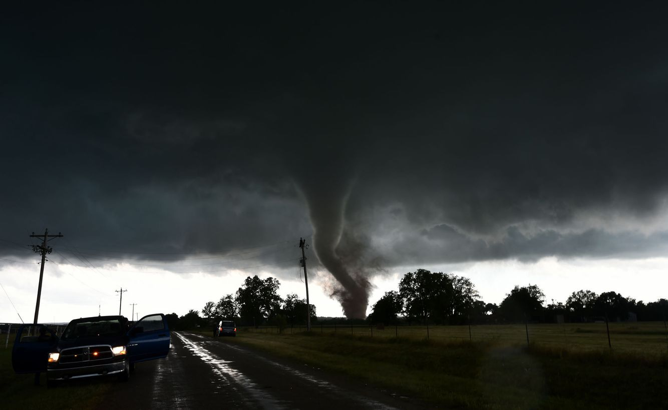 A tornado touches down near Wynnewood, OK